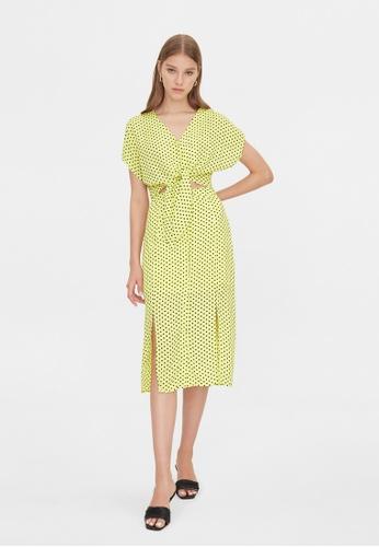 Pomelo yellow Button Up Polka Dot Skirt - Yellow 7D98BAAF3EBB8FGS_1