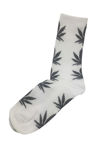 Splice Cufflinks white Glee Series Black Leaf White Socks SP744AA26PEVSG_1