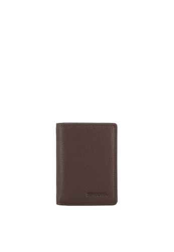 SEMBONIA brown Men Pebbled Leather Bi-Fold Compact Card Case FBF1AACD944DFDGS_1