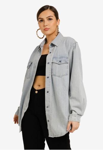 MISSGUIDED blue Boyfriend Fit Oversized Denim Shirt 9074BAA2DCA577GS_1