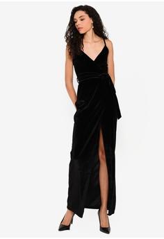 00e8d95d49a2 Boohoo black Velvet Wrap Tie Maxi Dress 08B5FAAD16A695GS_1