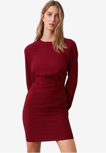 Trendyol red Gathered Sleeve Dress E86FBAAA391E72GS_1