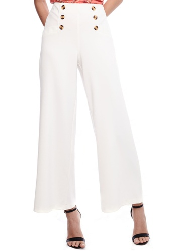Nichii white Button Detail Wide Leg Pants 6D6EFAAF539931GS_1