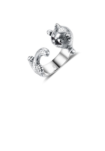 Glamorousky silver 925 Sterling Silver Plated Vintage Elegant Fashion Cat Adjustable Opening Ring 18E5CAC1BF5CAFGS_1