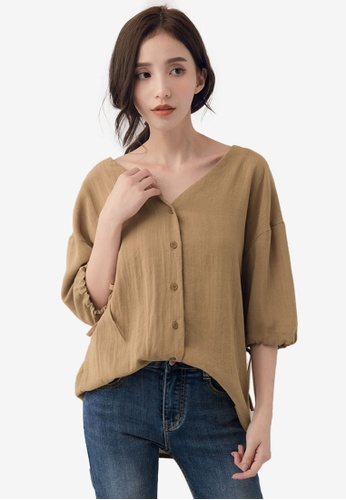 51982c451c321 Buy Kodz V-Neck Cuff Strap Blouse Online on ZALORA Singapore