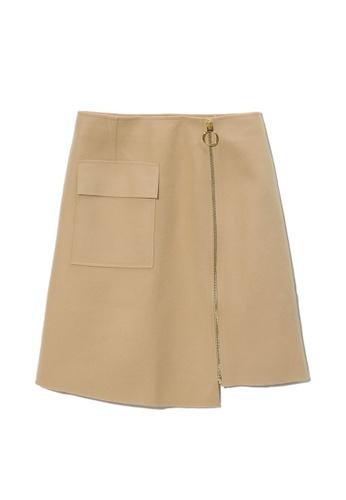 izzue beige Side zip asymmetric skirt 81D79AAED47B7BGS_1