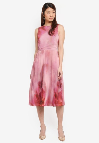 Little Mistress pink Print Placement Chiffon Dress 3A4A2AAAA258EFGS_1