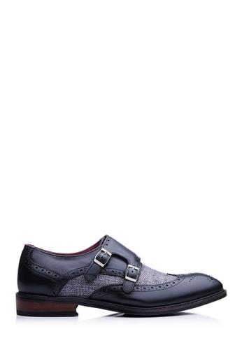 BONIA black Men Black Jacquard Full Brogue Shoes FB1E5SH9CA6098GS_1