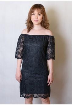 Off-Shoulder Lace Shift Dress