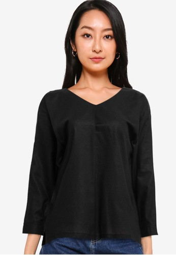 Solene black Aria V Neck Blouse A21EAAA2303CEAGS_1