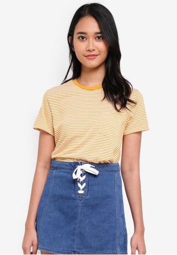 Penshoppe yellow The Dress Code Relaxed Fit Tee With Pocket 8D1F6AA44A53B9GS_1
