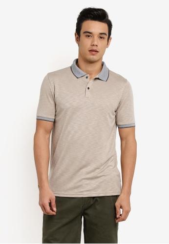 UniqTee 褐色 Textured Polo Shirt With Contrast Collar UN097AA0RFURMY_1
