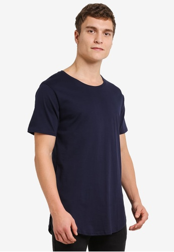 Factorie navy The Curved Tall Tee FA880AA0RY9EMY_1
