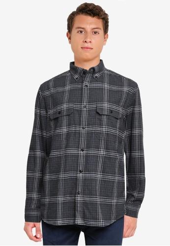 Banana Republic grey Untucked Standard-Fit Flannel Shirt D234DAAD485733GS_1