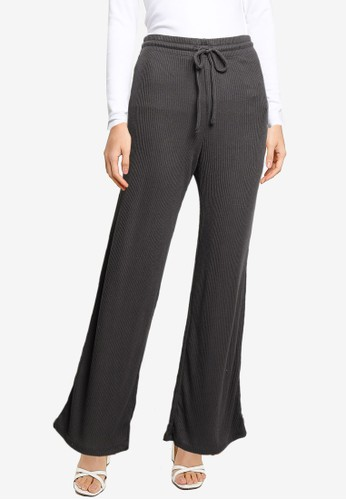 Gap grey Adult Softspun Ribbed Wide-Leg Pants 3ABFBAA9CB2701GS_1