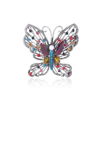 Glamorousky silver Fashion and Elegant Color Hollow Butterfly Brooch with Cubic Zirconia 17764AC816326CGS_1