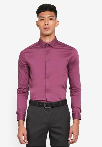 Burton Menswear London 粉紅色 修身長袖襯衫 A5929AADED1AD1GS_1