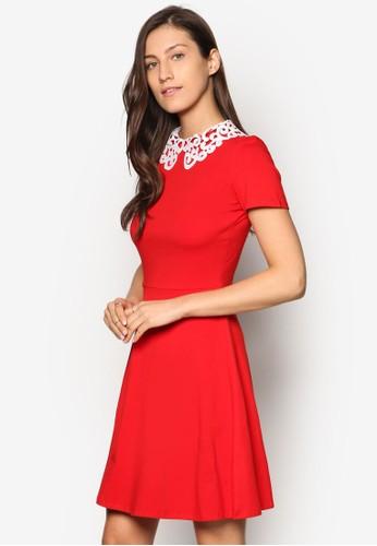 鉤針蕾絲小方領esprit 台中修身洋裝, 服飾, 洋裝