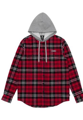 Fingercroxx red Hooded plaid shirt B15DDAAD6E1ABBGS_1