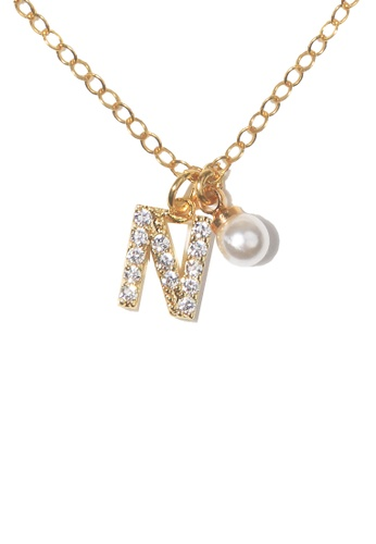 PSYNDROME gold Personalised Initial Diamond Letter Alphabet with Pearl Necklace - N 7B9F1AC1735AFFGS_1