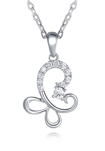 Prince Jewellery And Watch white and silver and gold 18K White Gold Diamond Butterfly Pendent 07056AC8751D09GS_1