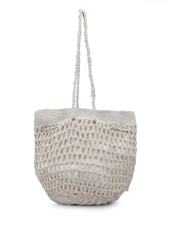 Rubi beige Macrame Knit Bucket Bag 198BCAC1CC3F11GS_1