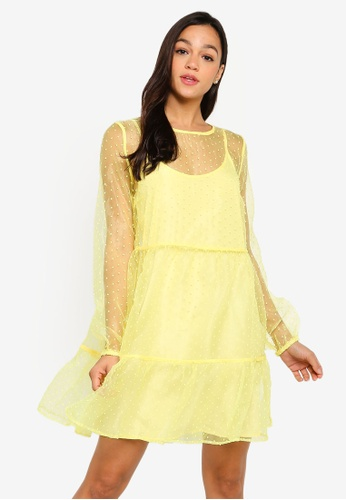 Pieces yellow Esra Long Sleeve Dress 5500BAAF45EB6FGS_1
