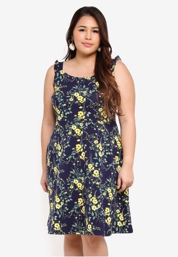 Dorothy Perkins 海軍藍色 Plus Size Blue Poppy Floral Dress 9E2C5AAAEA6D0DGS_1