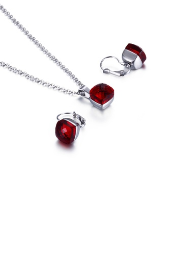 Glamorousky red Fashion Simple Geometric Square 316L Stainless Steel Necklace and Earrings Set with Dark Red Cubic Zirconia E1E6EAC4209EEFGS_1
