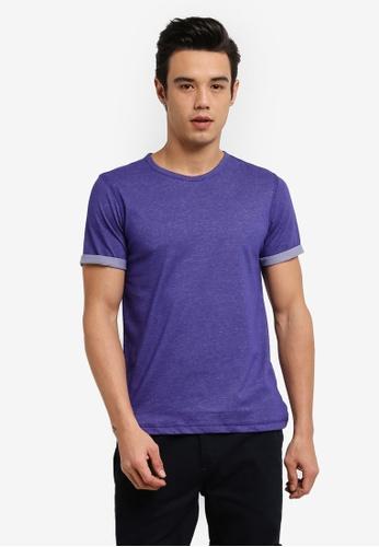 UniqTee 紫色 Slim Fit Textured Roller Tee UN097AA0RFUJMY_1