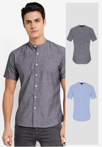 ZALORA grey and blue 2 Pack Slim Fit Mandarin Collar Chambray Short Sleeve Shirt ZA819AA0T28WMY_1