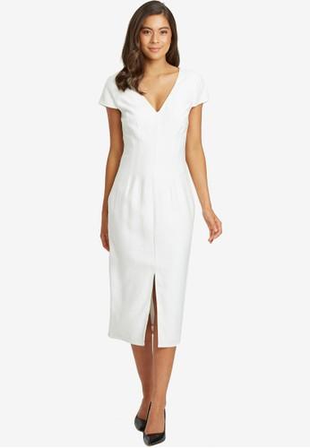 Willa white Ariel V Neck Midi Dress 6B5E1AA5BA40C8GS_1