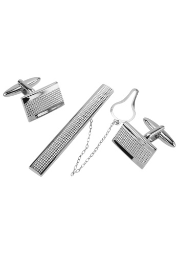 CUFF IT silver Silver Grid Cufflinks and Tie Clip Set CU047AC66AENHK_1