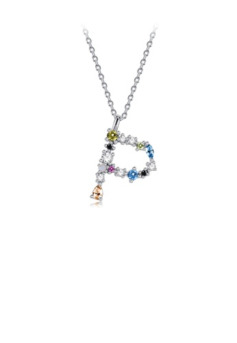 Glamorousky silver 925 Sterling Silver Fashion Simple Color English Alphabet P Pendant with Cubic Zirconia and Necklace 9B0B2ACF76ABE1GS_1
