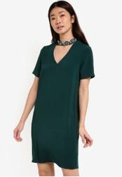 Dorothy Perkins green Embellished Choker Shift Dress DO816AA43SWUMY_1