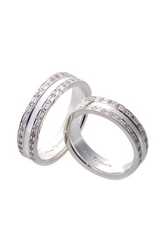 Double Eternity Silver Couple Ring with Artificial Diamonds lr0024
