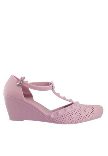 Twenty Eight Shoes 粉紅色 尖頭中空果凍膠船跟雨鞋 VR905A 5F938SH656EF78GS_1