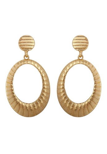 A-Excellence gold Gold Plated Round Hoop Texture Earrings 17BAFAC56BD612GS_1