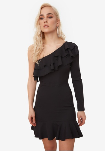 Trendyol black Ruffle Neck Toga Dress F73F1AAEBD7753GS_1