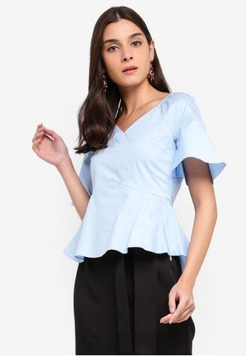 ZALORA blue Sweetheart Neckline Flare Sleeves Top E6ED6AA92F3012GS_1