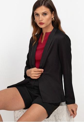 ZALORA WORK black Shawl Collar Blazer CFB7CAA3FDE80FGS_1