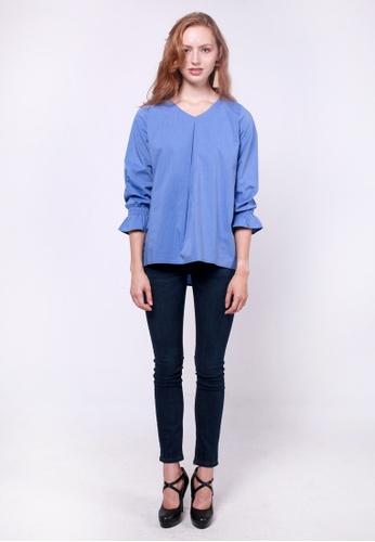 nicole blue nicole V Neck Long Sleeve Blouse 97B76AA123A15EGS_1