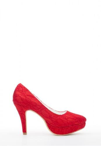 Kings Collection 紅色 花邊高跟鞋 KI513SH56UBZTW_1