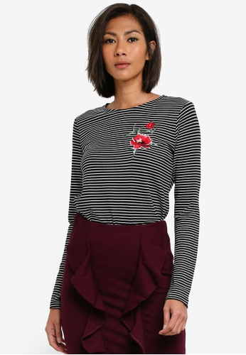 WAREHOUSE black Rose Embroidered Stripe Top WA653AA0S7D5MY_1