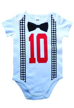 Suspender And Bow Tie Onesie - Tenth Month
