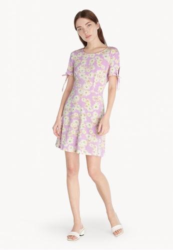 Pomelo purple Floral Tie Sleeve Mini Dress - Purple 05316AA7F6C470GS_1