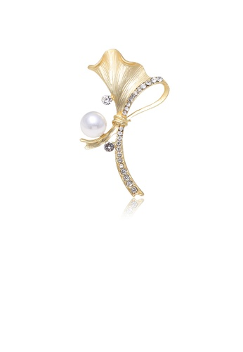 Glamorousky white Fashion and Elegant Plated Gold Floral Imitation Pearl Brooch with Cubic Zirconia E8178AC9495468GS_1