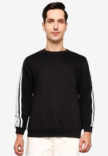 ZALORA BASICS black Contrast Trim Sweatshirt 7CFC1AAA607B10GS_1