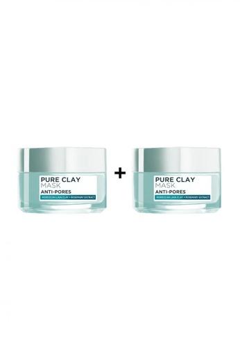 L'Oréal Paris green L'Oréal Paris Anti-Pores Pure Clay Mask 50ml [Bundle of 2] 80EF3BE31722CBGS_1