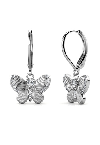Her Jewellery silver Chrysalis Butterfly Earrings (White Gold) - Made with premium grade crystals from Austria A1921ACC460F9CGS_1